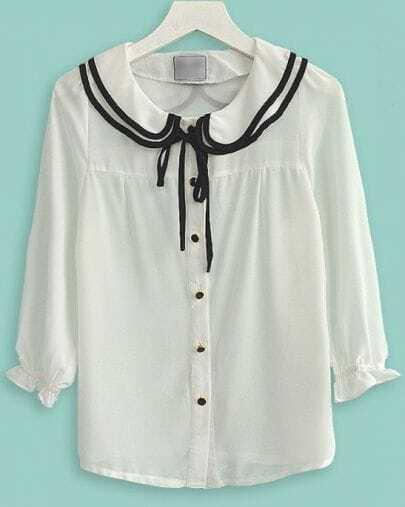 White Three Quarter Length Sleeve Ruffle Collar Tie Chiffon Shirt