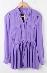 Purple Drawstring Long Sleeve Pleated Hem Chiffon Shirt