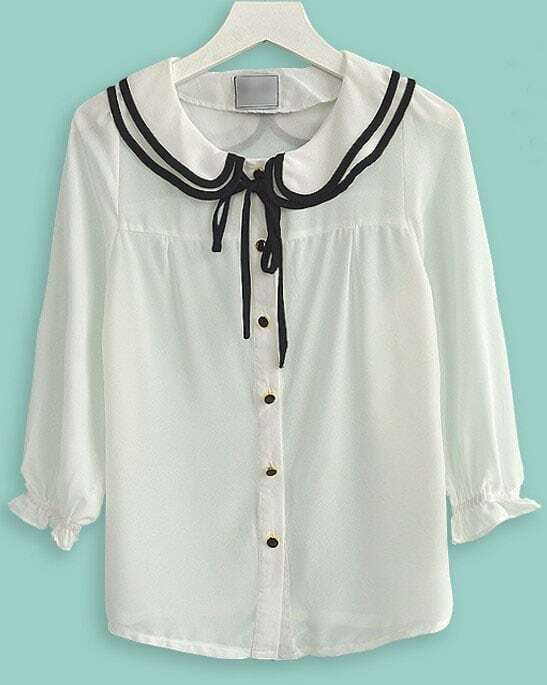 White three quarter length sleeve ruffle collar tie for Three quarter length shirt