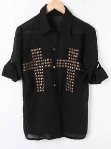 Black Cross Studded Rolled Long Sleeve Chiffon Shirt