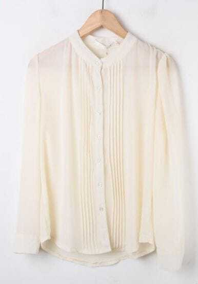 Apricot Long Sleeve Crew Neck Pintucks Pleated Chiffon Shirt