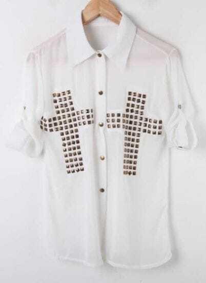 White Cross Studded Rolled Long Sleeve Chiffon Shirt