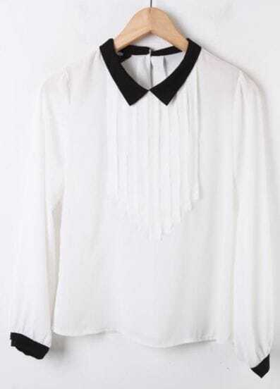 White Contrast Black Collar Long Sleeve Pleated Chiffon Blouse