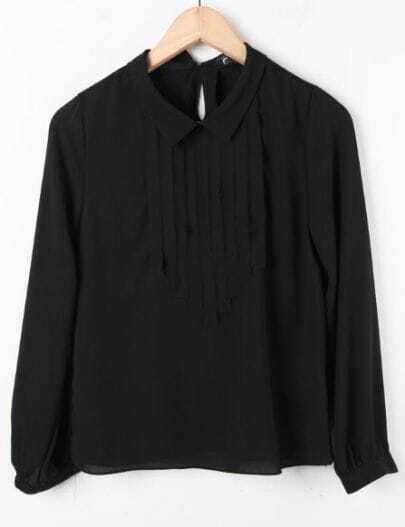 Black Long Sleeve Pleated Placket Chiffon Blouse