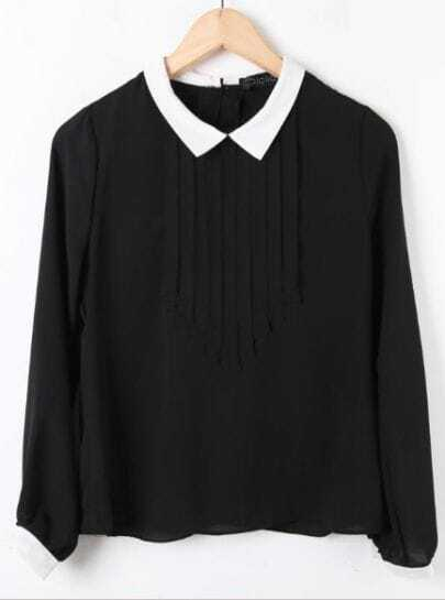 Black Contrast White Collar Long Sleeve Pleated Chiffon Blouse
