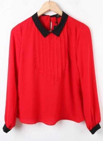 Red Contrast Black Collar Long Sleeve Pleated Chiffon Blouse