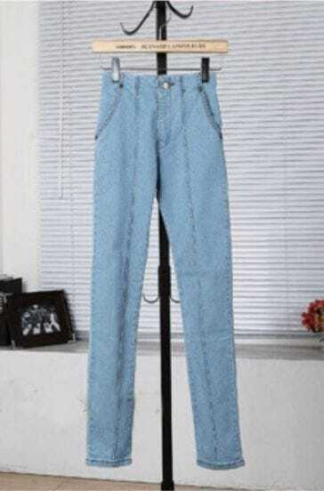 Blue High Elasic Waist Pockets Pintuck Center Denim Pant