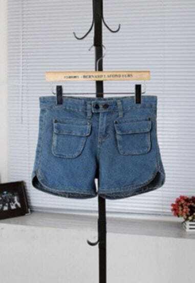 Blue Pockets Split Side Denim Shorts