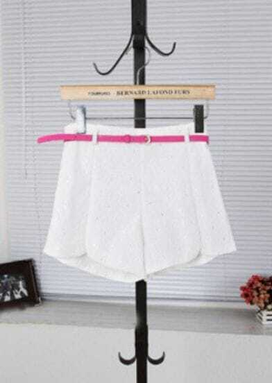 White Lace Embroidery Split Side Belted Shorts