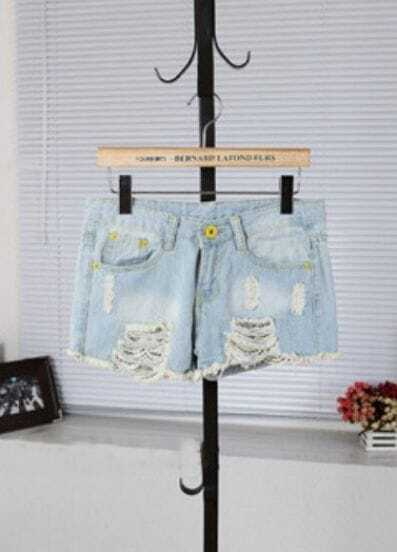 Light Blue Bleached Ripped Frayed Hem Denim Shorts
