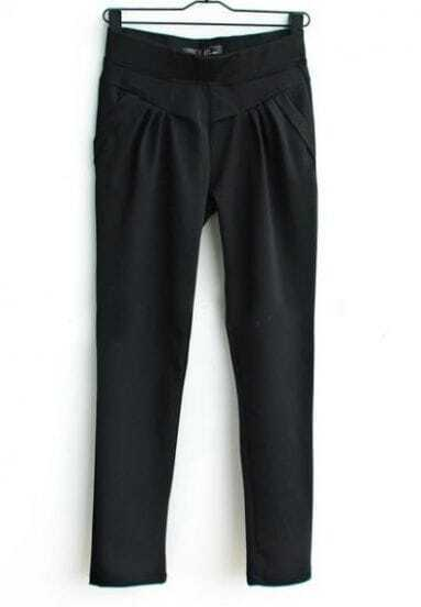 Black Darped Pockets Side Tapered Pant