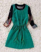 Green Drawstring Waist Floral Long Sleeve Pockets Polyester Dress