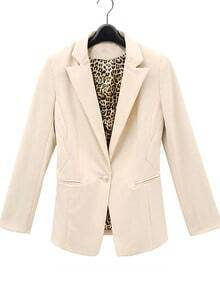 Ivory Brown Leopard Cuff Lapel Single Button Pockets Suit