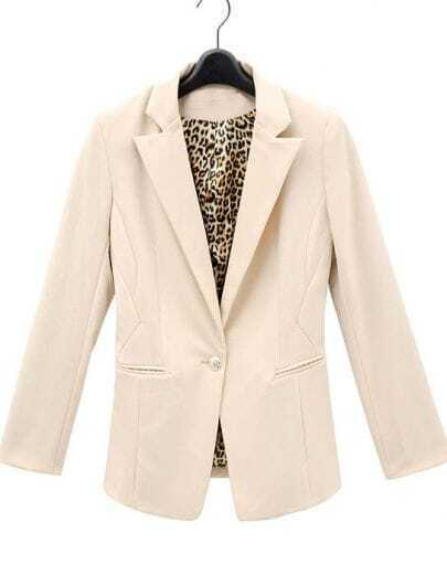Ivory Brown Leopard Cuff Lapel Single Button Pockets Suit