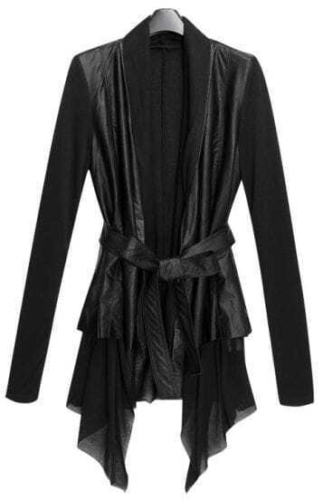 Black Contrast Long Sleeve Draped Front Belted PU Leather Coat