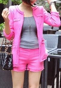 Pink Long Sleeve Frayed Trims Tweed Open Woolen Coat with Shorts