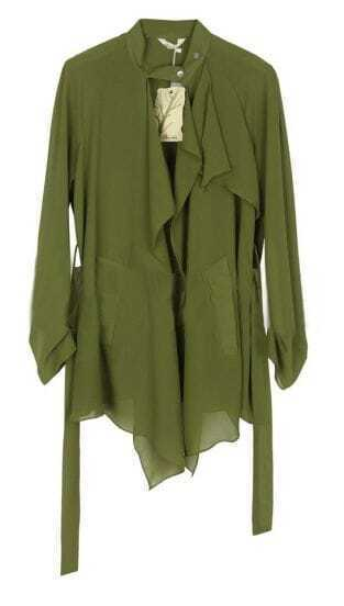 Army Green Banded Collar Draped Front Chiffon Belt Coat