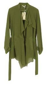 Army Green Banded Collar Draped Front Chiffon Belt Coat