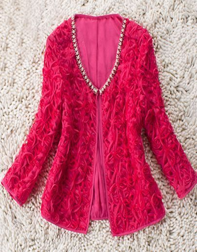 Red Long Sleeve Pearls Neckline Silk 3D Applique Coat