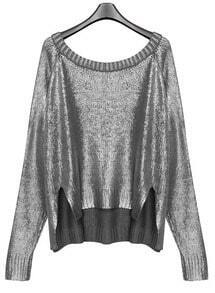 Metallic Silver Neck Split Side Diped Hem Jumper