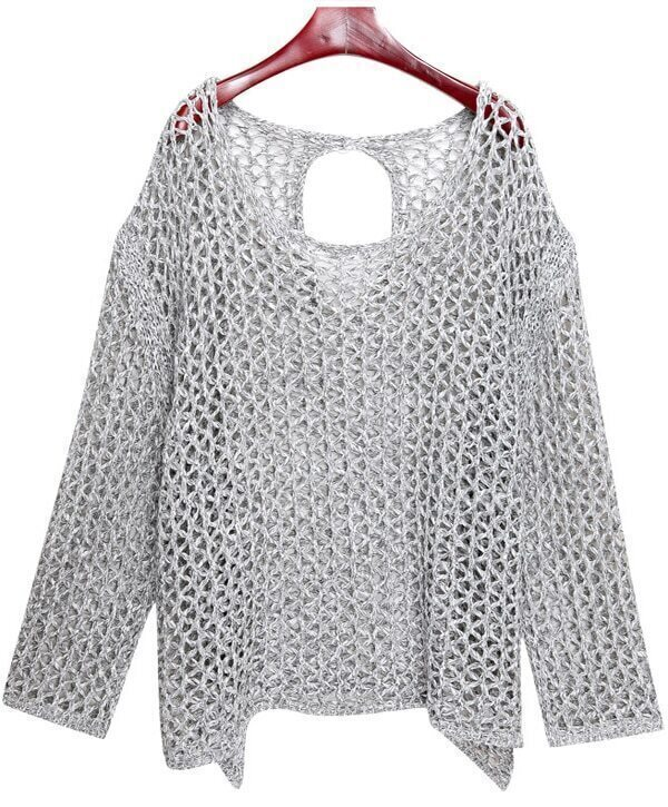 Grey Long Sleeve Cut Out Back Open-Knit Jumper Sweater -SheIn ...