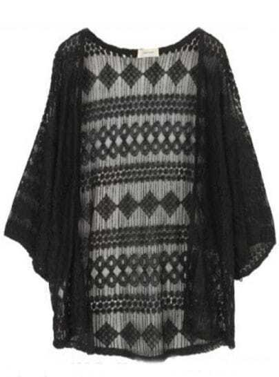 Black Batwing Sleeve Geometric Print Lace Open Cardigan