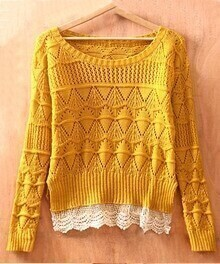 Yellow Long Sleeve Geometric Eyelet Lace Hem Embellished Knit Sweater