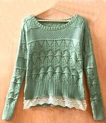 Light Green Long Sleeve Geometric Eyelet Lace Hem Embellished Knit Sweater