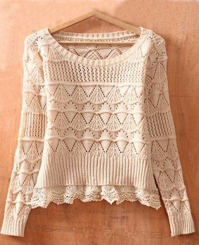 Beige Long Sleeve Geometric Eyelet Lace Hem Embellished Knit Sweater