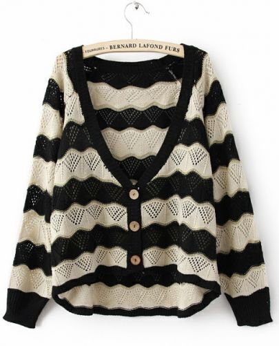 Black Beige Long Sleeve V-neck Weave Striped Carigan Sweater