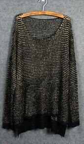 Black Diped Hem Open Stitch Sweater with Metallic Yarn