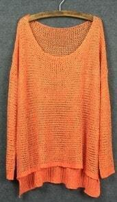 Orange Diped Hem Open Stitch Sweater with Metallic Yarn
