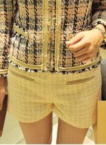 Beige Leather Trims Pockets Metallic Yarn Tweed Shorts