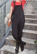 Black Spaghetti Strap Pockets Cotton Jumpsuit