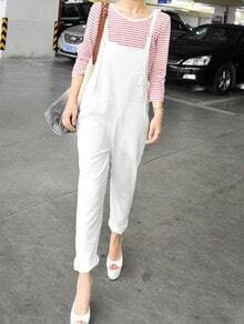 White Spaghetti Strap Pockets Cotton Jumpsuit