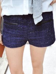 Blue Leather Trims Pockets Metallic Yarn Tweed Shorts