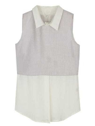 Light Grey White Lapel Sleeveless Zipper Shirt