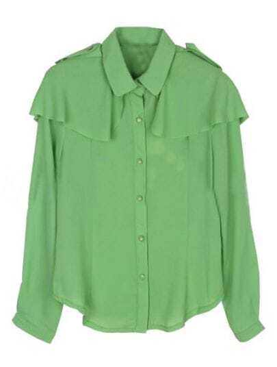 Green Lapel Single Breasted Shawl Chiffon Shirt