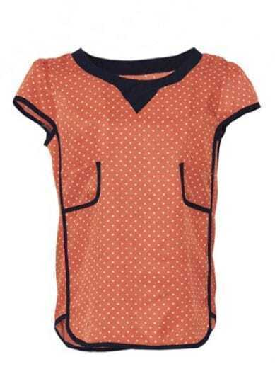 Orange Puff Sleeve Polka Dot Loose Chiffon Shirt