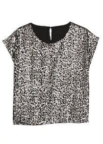Black Round Neck Short Sleeve Sequined Loose Chiffon Shirt