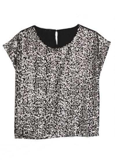 Black Round Neck Short Sleeve Sequined Loose Chiffon Shirt