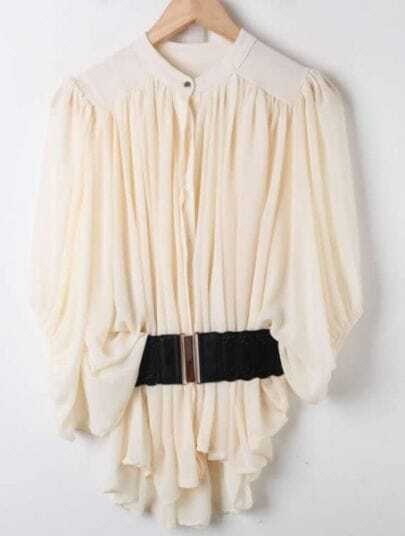 Apricot Batwing Half Sleeve Pleated Loose Chiffon Shirt