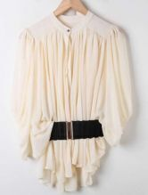 Apricot Batwing Half Sleeve Pleated Loose Chiffon Shirt