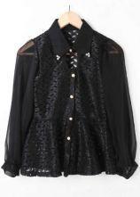 Black Rhinestone Single Breasted Lace Cotton Shirt