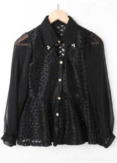 Black Rhinestone Single Breasted Lace Cotton Shirt
