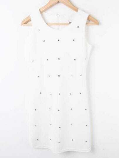 White High Waist Zipper Rivet Chiffon Shirt