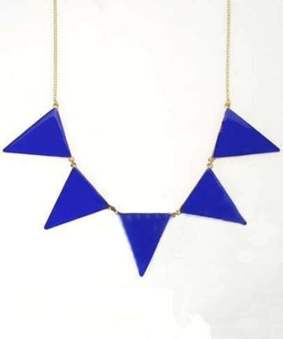 Blue Triangle Splice Gold Necklace