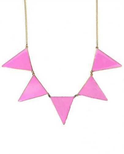 Pink Triangle Splice Gold Necklace