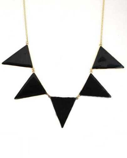 Black Triangle Splice Gold Necklace