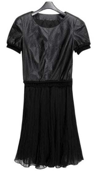 Black Short Sleeve PU Leather Top with Pleated Chiffon Dress